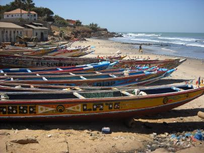 Gambian boats on the shore